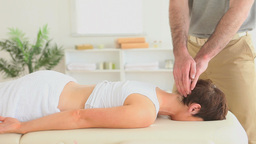 Woman getting a massage for her neck Footage