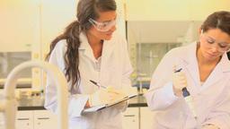 Female scientists preparing samples Footage