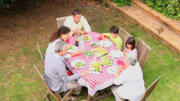 Family having dinner outdoors Stock Video Footage