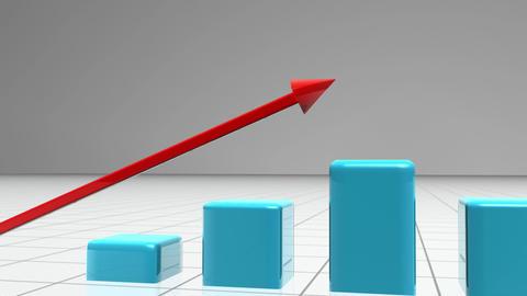 Blue bar graph following a red arrow Animation