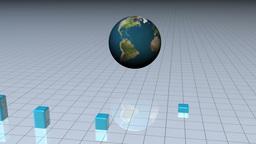 Blue bar graph with a world globe Animation