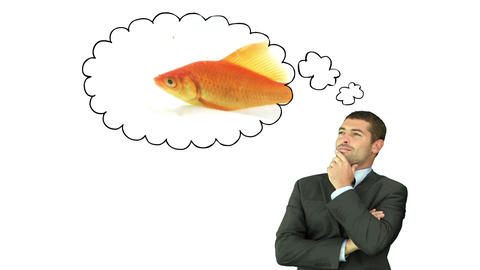 Businessman thinking about a fish CG動画素材