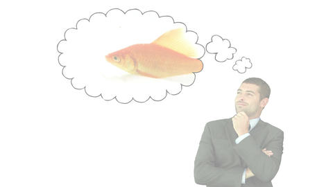 Businessman thinking about a fish Stock Video Footage