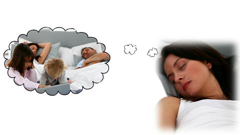 Woman dreaming about her family Stock Video Footage