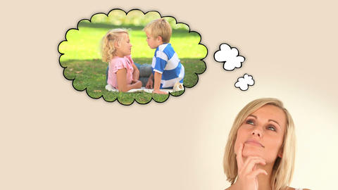 Woman think about her children Animation
