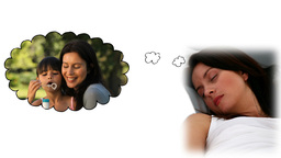 Woman dreaming about being with her children Animation