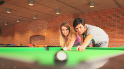 Young student teaching pool Stock Video Footage