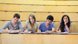 Serious students attending a lecture Stock Video Footage