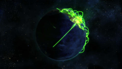 Lighted Earth turning on itself with green connect Footage