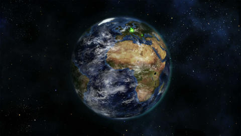 Earth turning on itself with moving clouds and gre Stock Video Footage