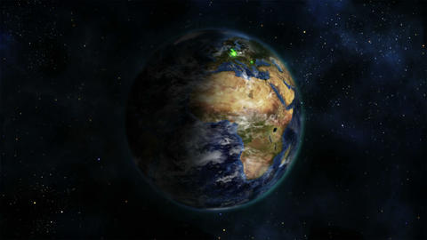 Shaded Earth turning on itself with moving clouds Stock Video Footage