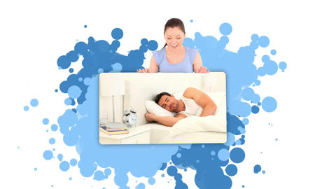Woman showing a man sleeping Stock Video Footage