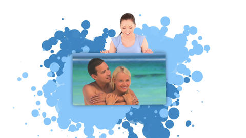 Woman showing a young couple embracing on the beac Stock Video Footage