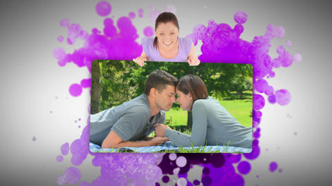 Woman showing an in love couple outside Footage