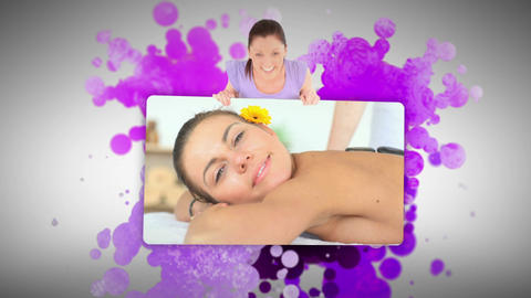 Woman showing women relaxing in a spa Footage
