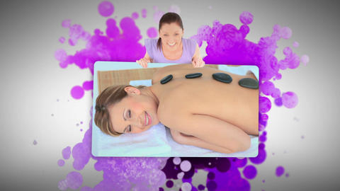 Woman showing a woman lying in a spa Footage