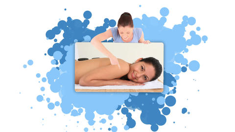 Woman showing a woman having a massage Footage