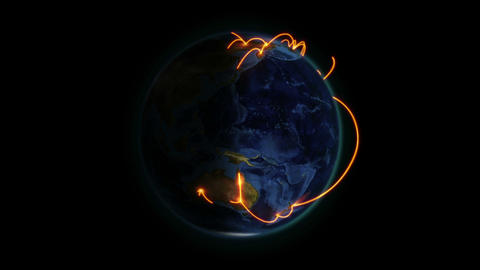 Shaded Earth with orange connection in movement wi Stock Video Footage