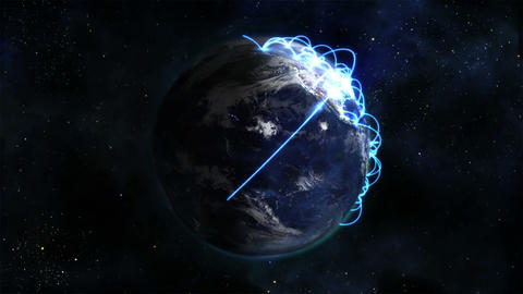 Lighted Earth in movement with blue connections an Footage