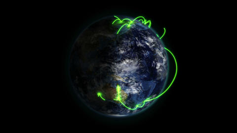 Shaded Earth with green connections turning on its Stock Video Footage