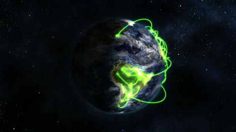 Shaded Earth with green connections in movement wi Stock Video Footage