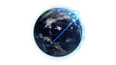 Blue network on a cloudy Earth with Earth image co Animation