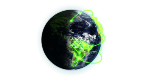 Green network on a shaded and cloudy Earth with a grid… Stock Video Footage