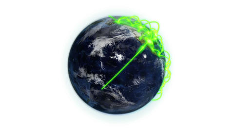 Green network on a cloudy Earth with Earth image c Animation