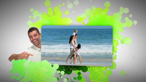 Man showing his family on holidays Animation