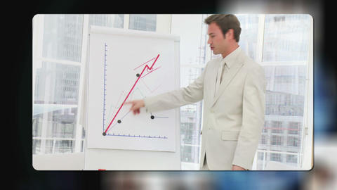 Videos of business people emerge from behind the e Animation