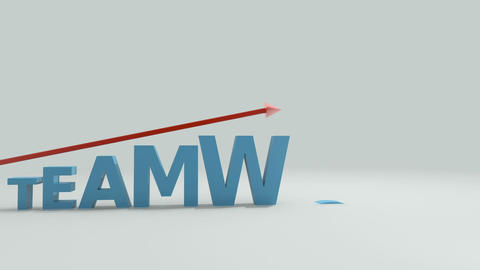 Upward moving arrow ascending over letters spelling the word teamwork Animation