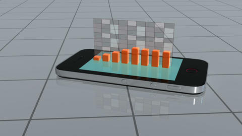 Smartphone slides on tiles and projects a bar chart Animation
