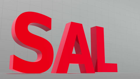 Large red letters descend from above and spell the word sale Animation