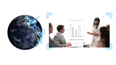 Earth turning as a video of business people appear Stock Video Footage