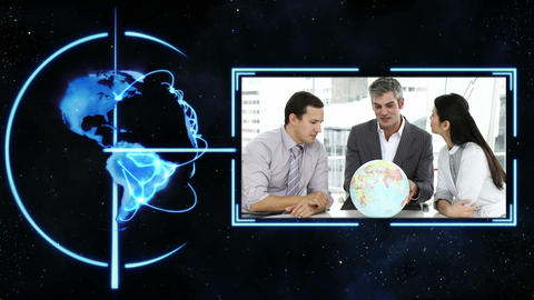 A video appears showing three people with a globe Stock Video Footage