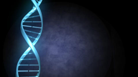 Blue lines intertwine to form a strand of DNA which then rotates Animation