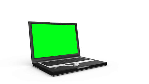 Laptop slides across the floor and opens to show a green screen before another laptop appears Animation