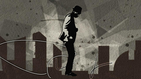Man dancing with a silhouette of a city and floati Animation