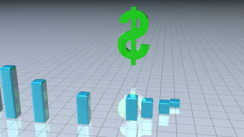 Dollar sign surrounded by a bar graph Animation