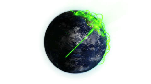 Green connections on a lighted Earth in movement with moving clouds and shadow with Earth image cour Animation