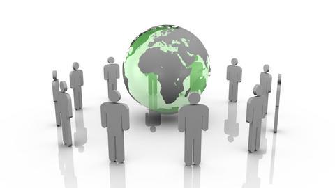 3d men surrounding a planet globe, Stock Animation