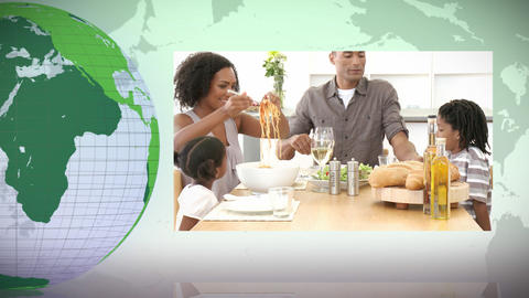 Green Earth turning on itself with families spending time together Animation
