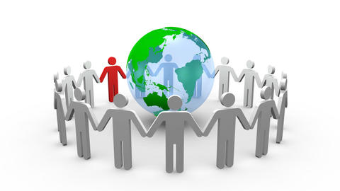 Earth globe and 3d men turning on themselves Animation