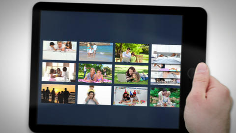 Tablet computer showing families Animation