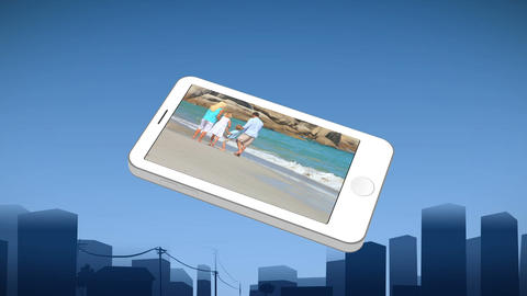 Smartphone showing a family walking Animation