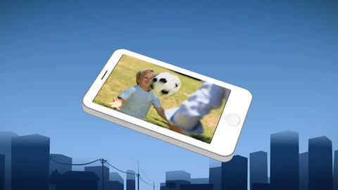 Smartphone showing a boy and his father playing Animation