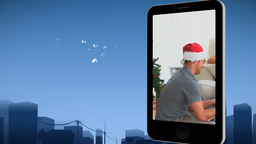 Smartphone showing a family celebrating Christmas Animation