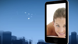 Smartphone showing a woman at the spa Animation