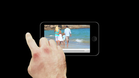 Smartphone showing families relaxing Animation