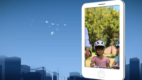 Smartphone showing a family riding bikes Animation